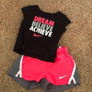 Toddler girls 12 months Nike shorts set